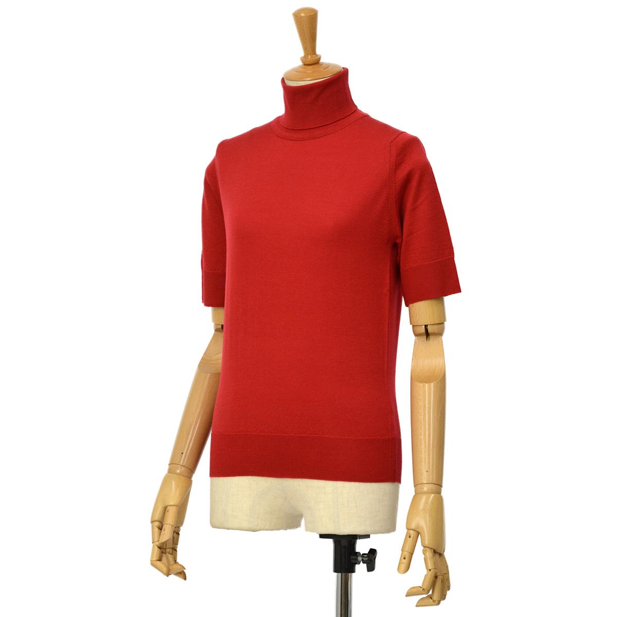 【30%OFF】【size S】JOHN SMEDLEY【ジョンスメドレー】半袖タートルニット SALERNO CONTOUR RED ウール レッド