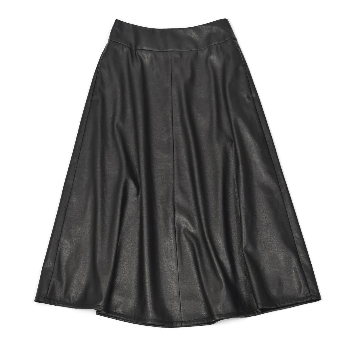 【30%OFF】【size36】INCOTEX【インコテックス】フレアスカート ANNA J4556 990 フェイクレザー ブラック