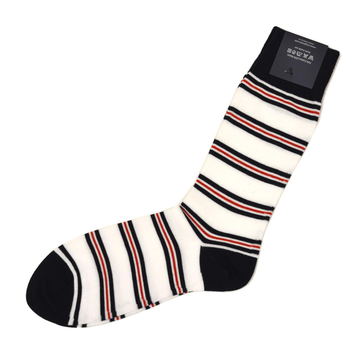 CORGI【コーギー】ソックス靴下 80 45 4102 Royal Gurkha Stripe Sock コットン ナイロン 薄手 ホワイト