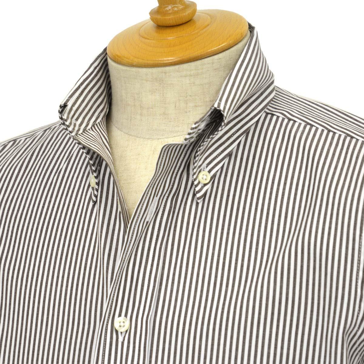INDIVIDUALIZED SHIRTS【インディビジュアライズドシャツ】ボタンダウンシャツ slim fit OX stripe (スリムフィット オックスストライプ)コットン ブラウン