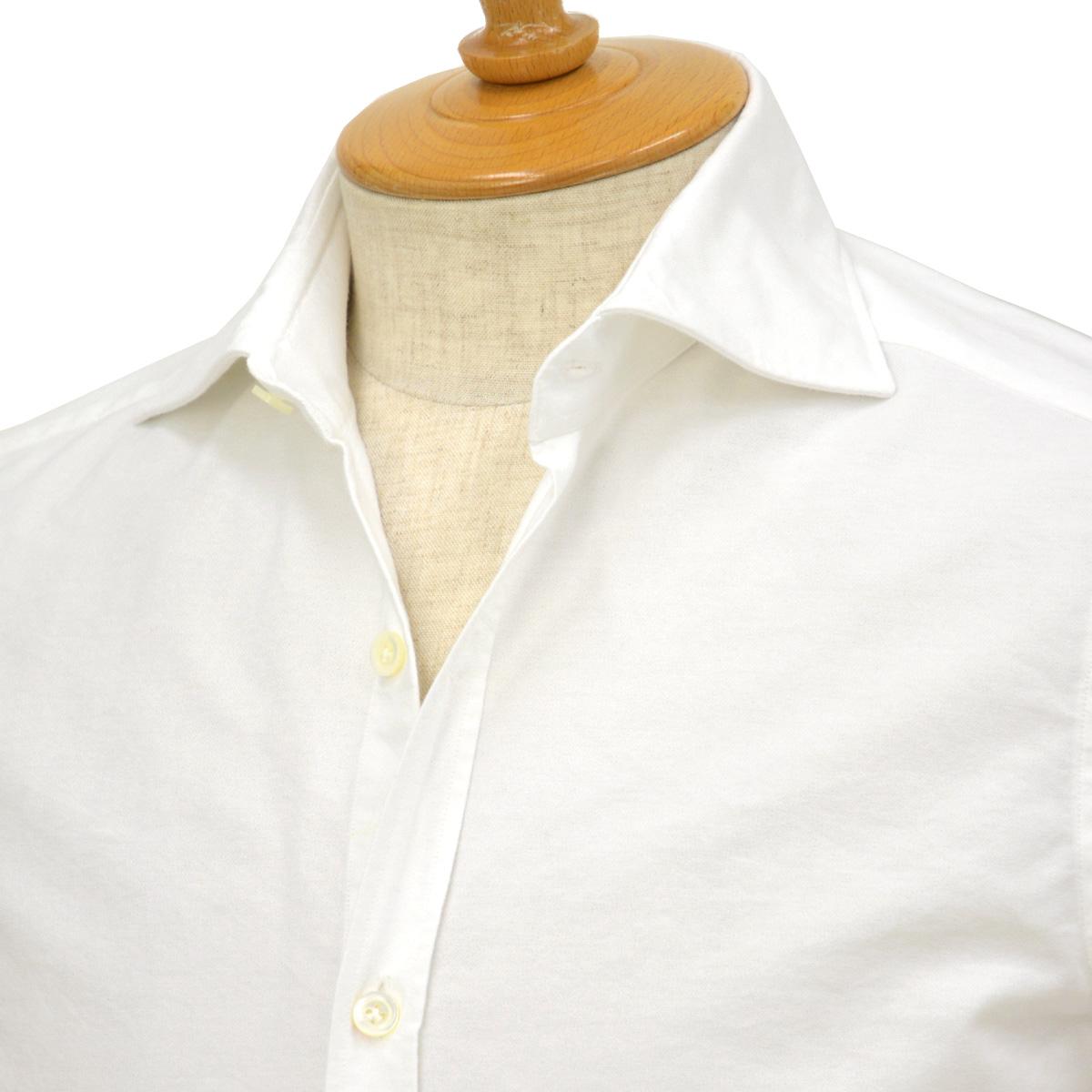 【30%OFF】【size36,38】Giannetto【ジャンネット】オックスフォードシャツ SLIMFIT 14637L81 001 コットン ホワイト