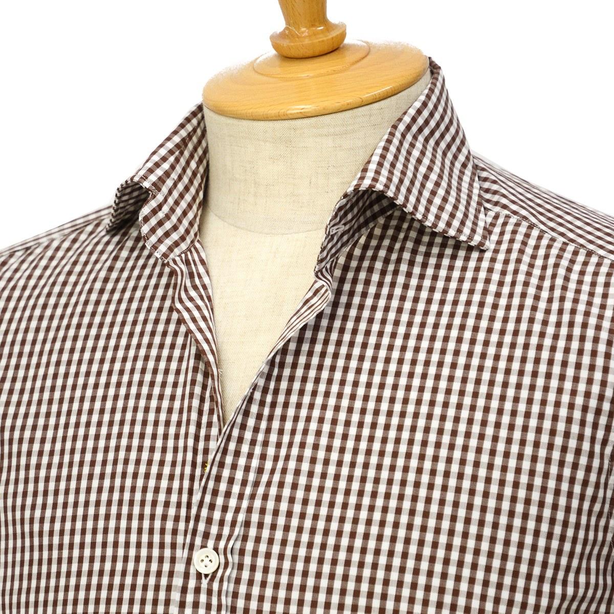 【30%OFF】【size36,38】Giannetto【ジャンネット】ギンガムチェックシャツ VINCIFIT 26837V81 004 コットン ブラウン