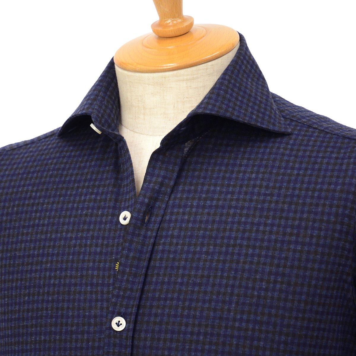 【30%OFF】【size36】Giannetto【ジャンネット】ジャージーチェックシャツ VINCIFIT 92031186370V81 005 コットン ネイビー