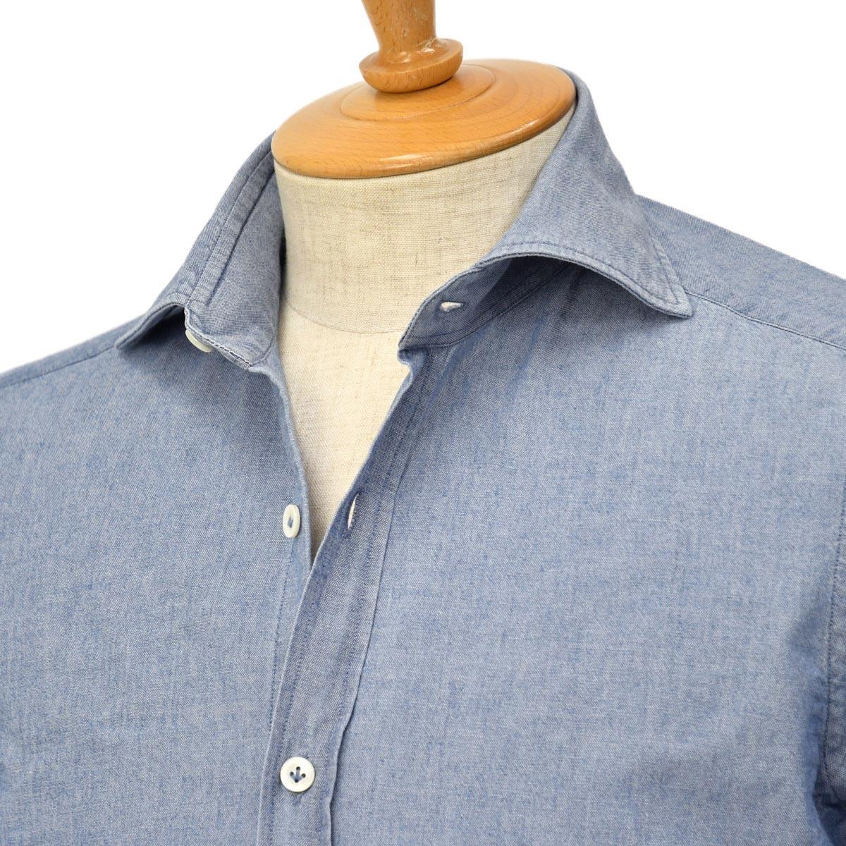 【30%OFF】【size40】Giannetto【ジャンネット】シャンブレーシャツ VINCIFIT 0103-354370V81 0006 コットン インディゴ