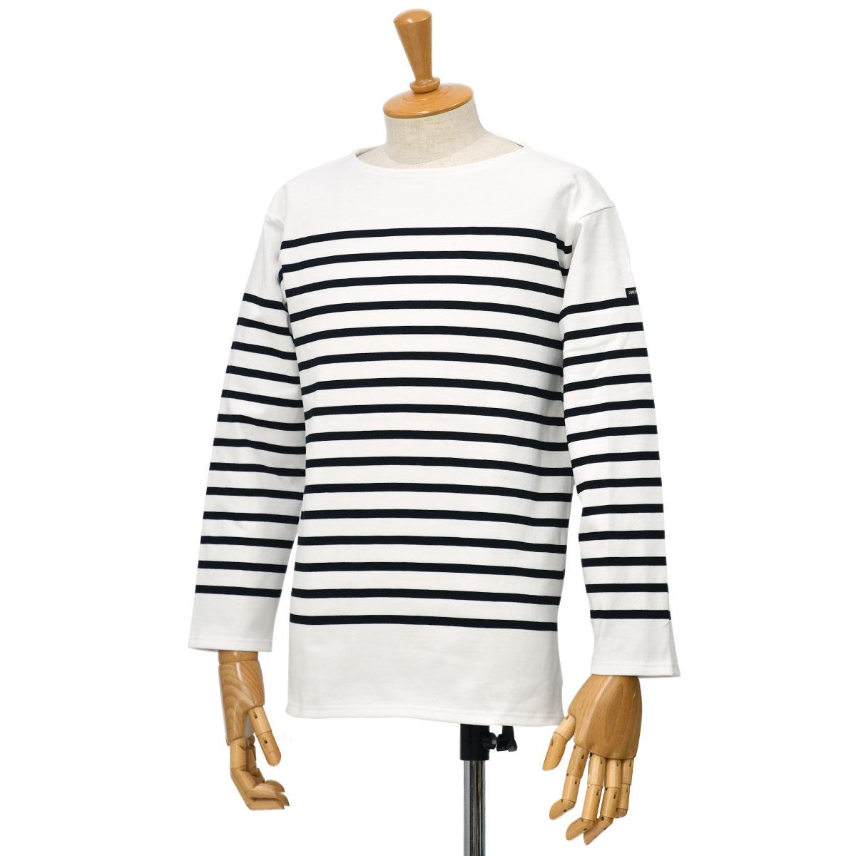 SAINT JAMES【セントジェームス】ボートネック七分袖バスクシャツ ナヴァル NAVAL NEIGE/NOIR(ホワイト/ブラック)
